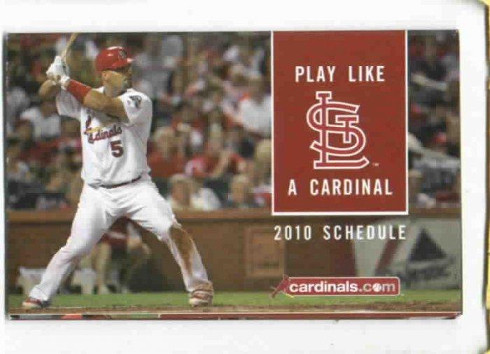 2010 St. Louis Cardinals Pocket Schedule Albert Pujols