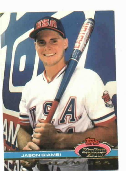 1991 Topps Stadium Club Team USA Gason Giambi Oakland A's Rookie
