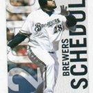 2010 Milwaukee Brewers Pocket Schedule Prince Fielder