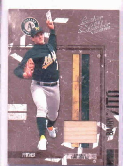 2004 Donruss Leather & Lumber Barry Zito Game Used Bat Card #D /100 Oakland A's