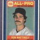 1987 Burger King Don Mattingly All Pro Baseball Card New York Yankees