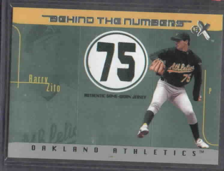 2003 Fleer Ex Behind The Numbers Barry Zito Jersey Oakland A's #d/ 500