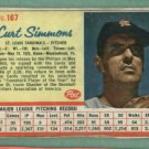1962 Post Curt Simmons St Louis Cardinals