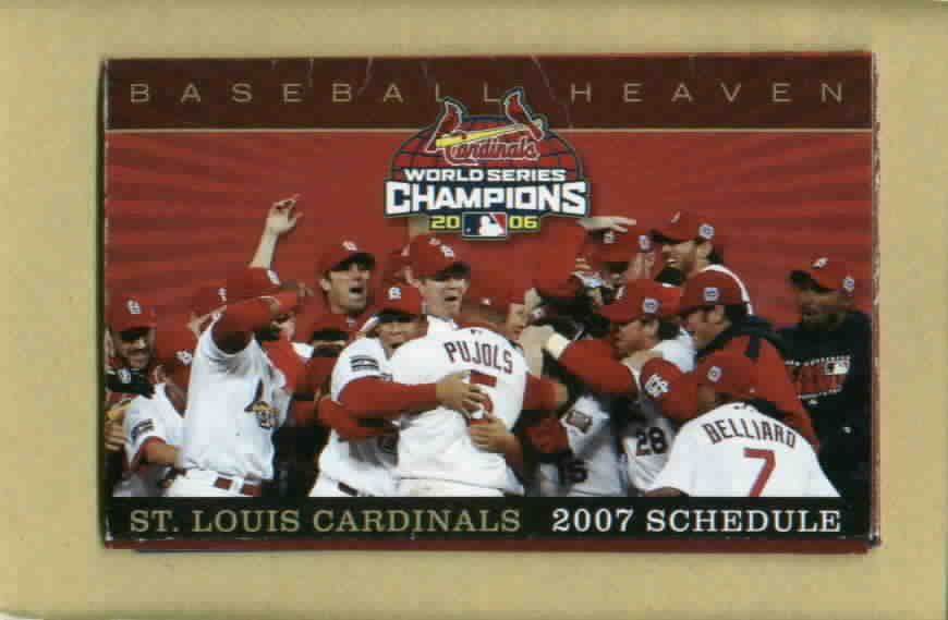 2007 St Louis Cardinals Pocket Schedule 2006 World Series Champs Pujols