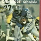 1981 Detroit Lions Pocket Schedule Billy Sims