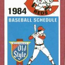1984 Cincinnati Reds Pocket Schedule Old Style Beer