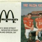 1992 Bowling Green University Football Pocket Schedule McDonalds