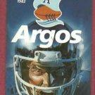 1982 Toronto Argonauts Football Pocket Schedule CFL