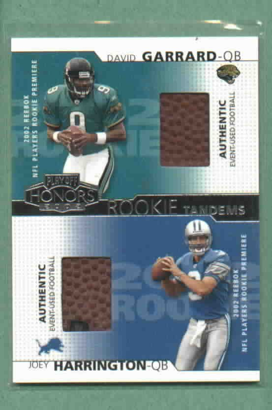 2004 Playoff Honors Rookie Tandems David Gerrard Joey Harrington Authentic Event Used Lions Jaguars