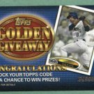 2012 Topps Golden Giveaway Ryan Braun Milwaukee Brewers # GGC-1 UNREDEEMED