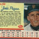 1962 Post Jose Pagan San Francisco Giants # 132