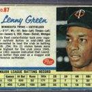 1962 Post Lenny Green Minnesota Twins # 87