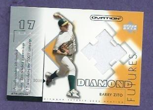 2002 Upper Deck Ovation Diamond Futures Barry Zito Jersey Oakland A's Giants # DF-BZ