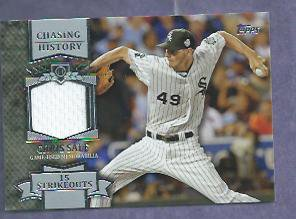 2013 Topps Baseball Chasing History Chris Sale Chicago White Sox Jersey Card # CHR-CSA