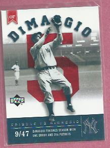 2002 Upper Deck Joe Dimaggio Tribute New York Yankees # JD107
