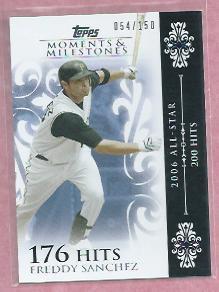 2008 Topps Moments & Milestones Freddy Sanchez Pittsburgh Pirates # 108   54/150