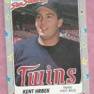 1988 Fleer Star Stickers Kent Herbek Minnesota Twins # 44 Oddball