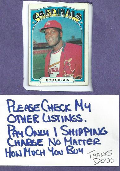 1972 Topps Bob Gibson St Louis Cardinals # 130