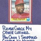 1986 Topps Quaker Cjewy Granola Dave Parker Cincinnati Reds Oddball # 9