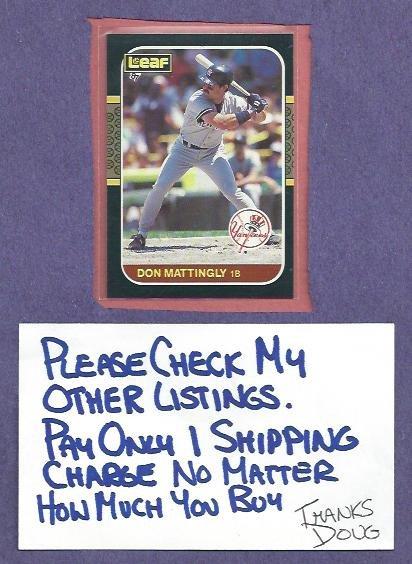 1987 Leaf Don Mattingly New York Yankees Dodgers # 150