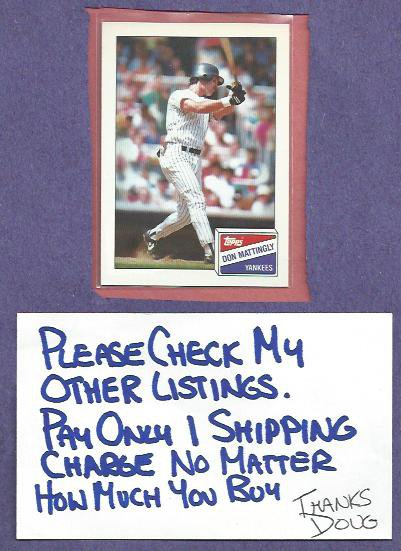 1988 Topps Bazooka Don Mattingly New York Yankees Dodgers Oddball # 11