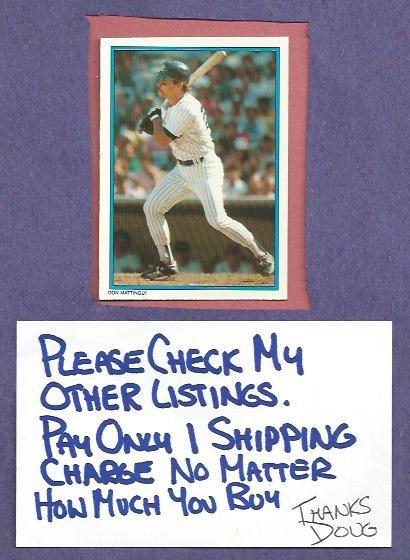 1985 Topps All Star Set Don Mattingly New York Yankees Oddball # 27
