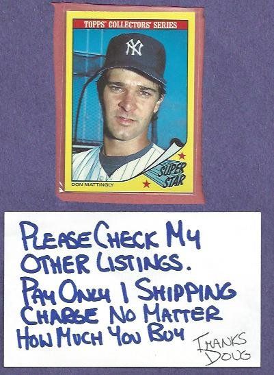 1986 Topps Collectors Series Super Star Don Mattingly New York Yankees Oddball # 20