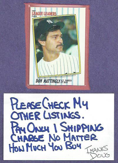 1987 Fleer League Leaders Box Set Don Mattingly New York Yankees Oddball # 28
