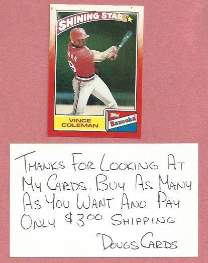 1990 Bazooka Shining Star Vince Coleman St Louis Cardinals # 8 Oddball