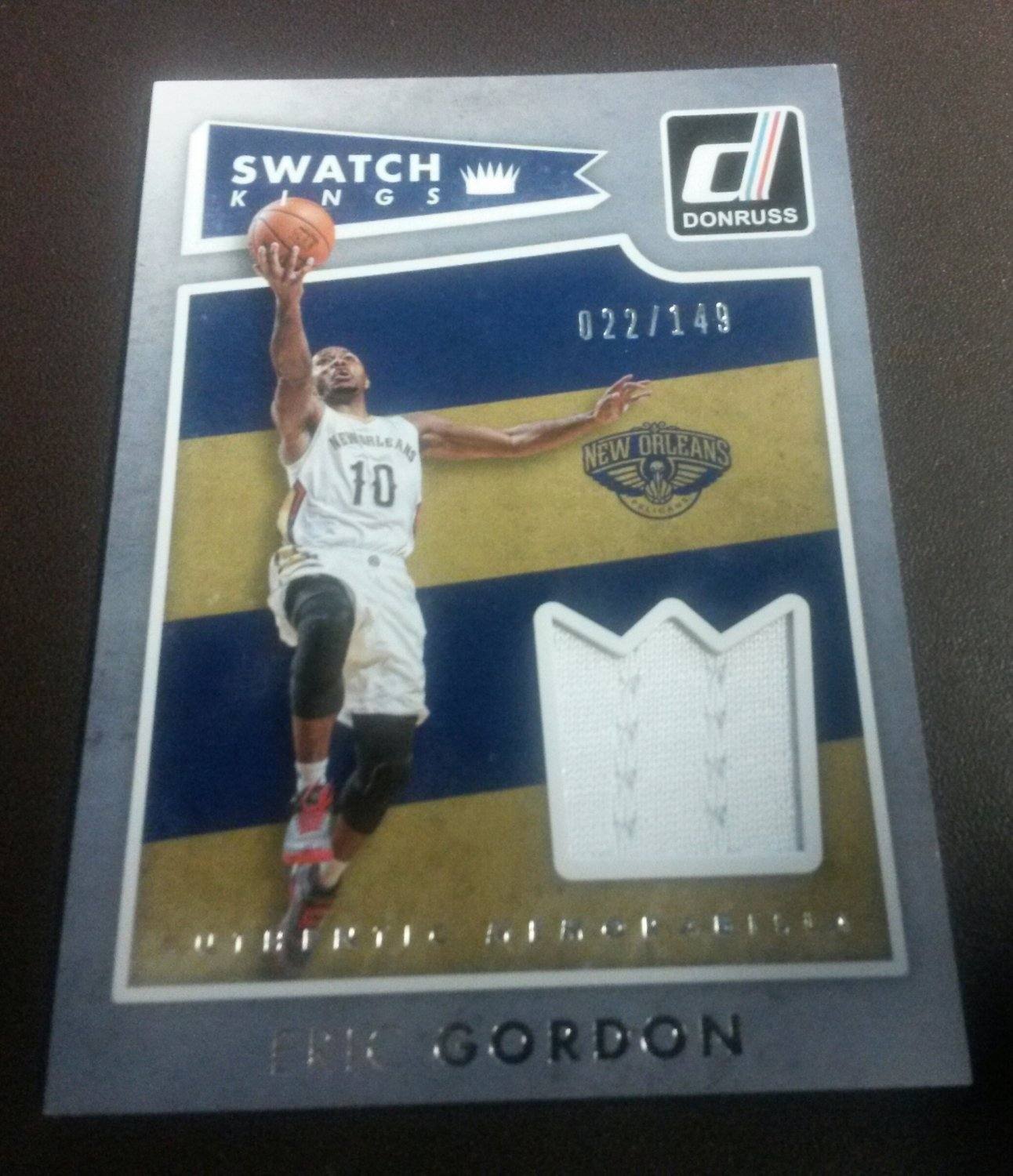 2015-16 Donruss Panini Swatch Kings Eric Gordon New Orleans Pelicans Jersey Card