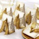 Gold Wedding Favor Box with Damask Print & Gold Ribbon