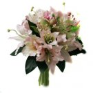 Beautiful Pink Lily Wedding Bridal Bouquet