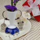 Newly Wedded Bears Keyrings Set 2 in Velvet Gift Bag