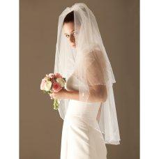 2 Layer Elbow with Beading Wedding Veil 0455-1