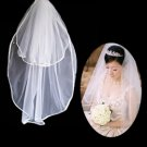 2 Layers Elbow Length White Wedding Veil TS017