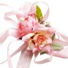 Orange with Pink Silk Rose Wedding Wrist Corsage SIM108