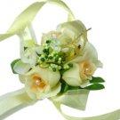 Elegant Ivory Silk Rose Wedding Wrist Corsage SIM126