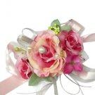 Fuchsia Pink Silk Rose Wedding Wrist Corsage SIM116