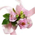 Beautiful Pink Silk Rose Wedding Wrist Corsage SIM114