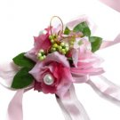 Elegant Pink Silk Rose Wedding Wrist Corsage SIM094