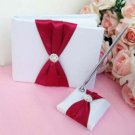 Deep Red Satin Bow Wedding GuestBook & Pen Set