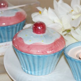 Ceramic Cup Cake Muffin Tea Light Holder Wedding Favor