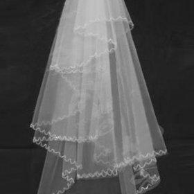 1 Layer Waltz Beading Wedding Bridal Veil WAV0011 Ivory