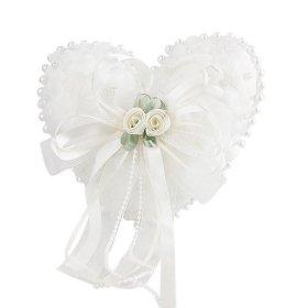 Flowers & Pearls Lovely White Satin Wedding Ring Pillow