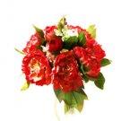 Silk Peony Red Wedding Bridal Bouquet