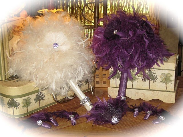Whimsical Ivory Feather Wedding Bridal Bouquet  & FREE Groom Boutonniere