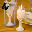 Elegant Calla Lily Accented Champagne Flute Candle Holder Favors