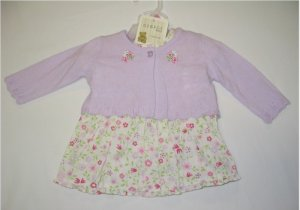 6-9 month off-white floral dress and panty with lavender sweater
