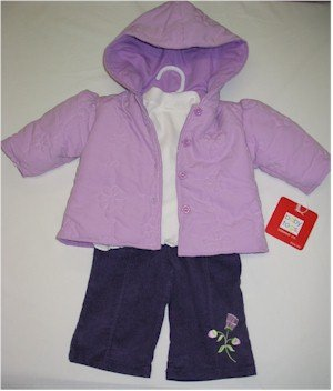 6-9 month purple coat, off white turtleneck with puple corduroy pants
