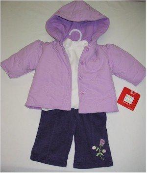 6-9 month purple coat, off white turtleneck with puple corduroy pants